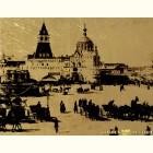 Вид на кремль - картина из сусального золота