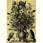 Картина  на сусальном золоте с Гравюра Ваза с Попугаями