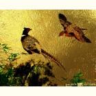 Картина  на сусальном золоте с изображением  Фазанов