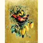 Картина  на сусальном золоте с изображением Птиц на ветке