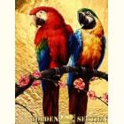 Картина  на сусальном золоте с изображением Попугаев