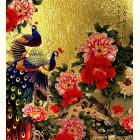 Картина  на сусальном золоте с изображением Павлинов