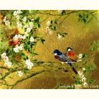 Картина  на сусальном золоте с изображением  Птиц на Сакуре