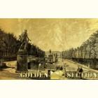 Картина с видом фонтанов в Петергофе