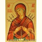 Семистрельная икона Божией Матери из сусального золота