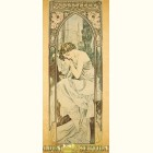 Альфонс Муха - Ночь (Картина из сусального золота)