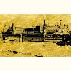 Москва Вид на Кремлёвскую стену  - картина из сусального золота