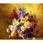 Картина  на сусальном золоте с изображением  натюрморта с садовыми цветами