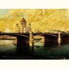 Храм Христа и Каменный мост - картина из сусального золота