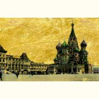 Вид на Храм Василия Блаженного - картина из сусального золота
