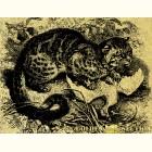 кошка с добычей- картина из золота с изображением хищных кошек