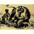 схватка- картина из золота с изображением хищных кошек