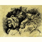 Лев на скале- картина из сусального золота