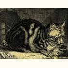 кошка  - картина из золота с изображением хищных кошек