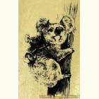 Золотая картина Медведи Коалы