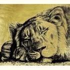 Спящий лев  - картина из золота с изображением львов