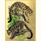 Золотая картина Гепарды на дереве