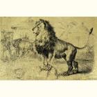 Лев на скале - картина из сусального золота