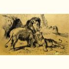 Золотая картина Пара львов